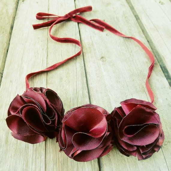 Carnation Fabric Flower Tutorial - Necklace Finished item HOW TO ebook - patterns - pdf   DIY