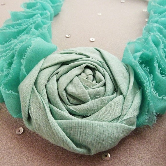 Fabric Flower Tutorial Necklace PDF -  2 PATTERNS, Rolled Flower & Ruffles Necklace - Instant DOWNLOAD