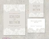 "wedding invitation lace romantic modern - ""Love & Lace"""