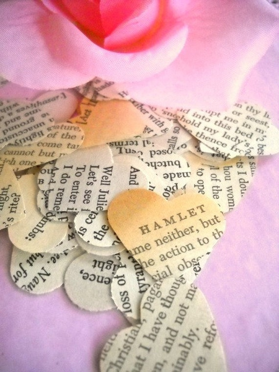 Vintage Shakespeare Paper Heart Confetti Punches