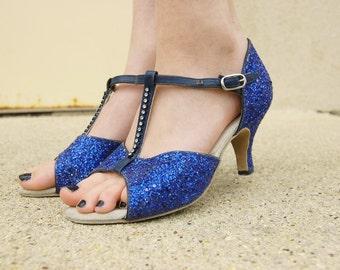 Vintage Glittery Blue High Heels - Blue 1970s Disco Heels - T strap