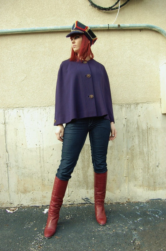 1970s Navy Wool Cape / Brass Dragon Buttons by Capriel