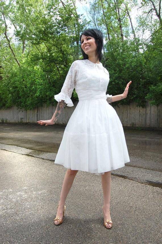 1950s 1960s White Party Dress / Lace Bolero Jacket Wedding Formal