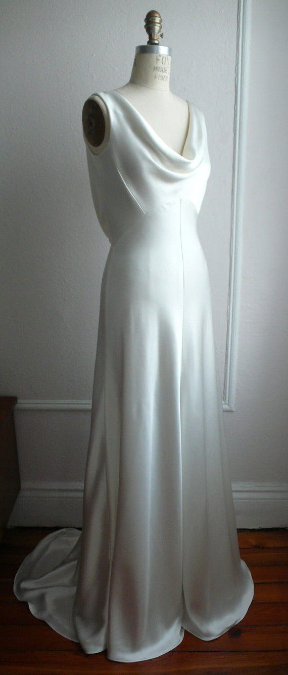"1930's Inspired Bias Bridal Gown ""Ella"", Low back, Backless, Cowl neck, Heavy Silk Satin, Customizable"