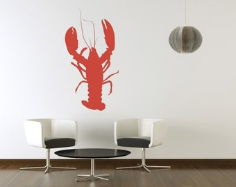 Lobster Wall Decal, Beach Wall Decor, Lobster Decal, Cottage Chic Decor, Coastal Wall Decor, Ocean Animal Decal, Modern Nursery Decor