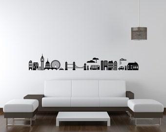London Skyline Wall Decal, Modern Nursery Decor, London Wall Decal, Landmark Wall Decor, London Dorm Decor, Cityscape Wall Decal