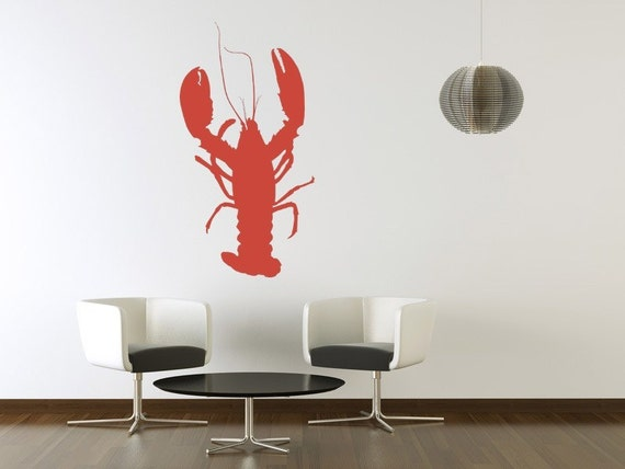 Lobster Wall Decal, Beach Wall Decor, Lobster Decal, Cottage Chic Decor, Coastal Wall Decor, Ocean Animal Decal, Modern Nursery Decor