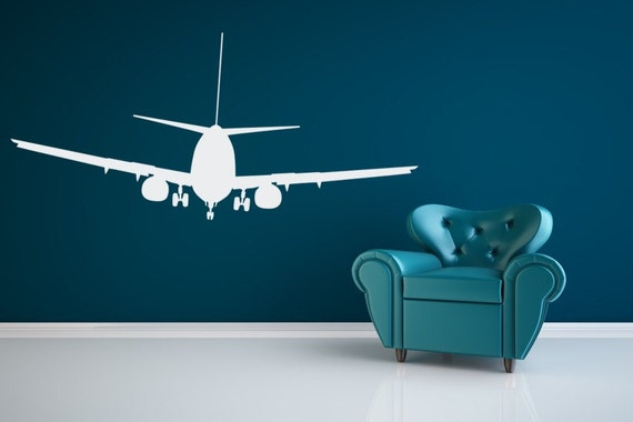 Airplane decal airplane wall decal airplane nursery dorm for Airplane wall decoration