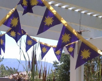 Tangled Rapunzel Party  - 10' Gold and Purple Fabric Royal Double Sided sun emblazoned bunting