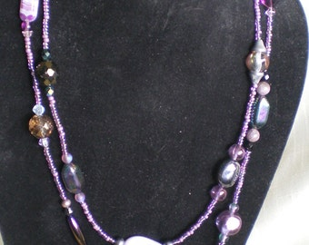Purple Passion Necklace Amethyst Pearl Czech Glass wSterling Clasp