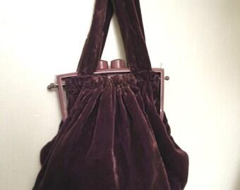 SALE WAS 75.00 Vintage 1930's Silk Velvet and Marbleized Lucite Handbag
