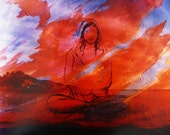 Buddha Woman Mulptiple Exposure Color Photograph, May your heart be as open as the sky, Meditation Art
