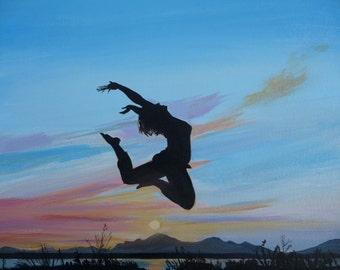Jump For Joy Original Painting Figure Art Sunset Silhoette Dancer Landscape On Canvas