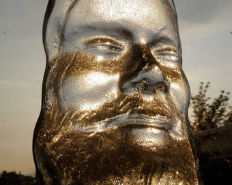 Glass Art Face Sand Cast Yogi Sculpture Suncatcher in Bliss with Lens Polish