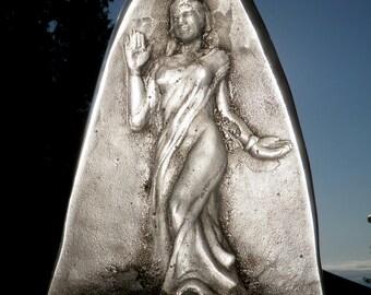 Cast Glass Figure Sculpture, Goddess Art, Saraswati, Large Prism Bas Relief Woman In A Dress