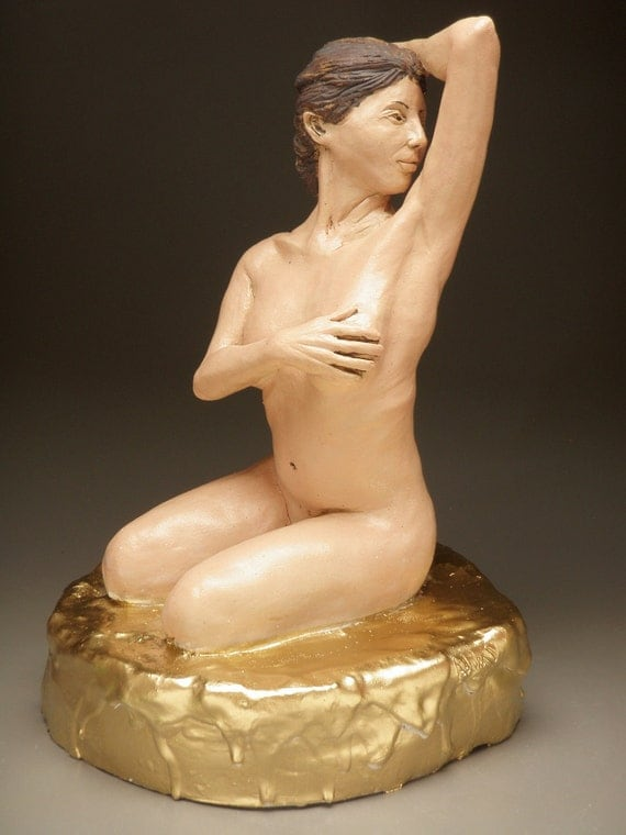 The Sweetness, Ceramic Nude Figure Sculpture Goddess Art with Gold Drips