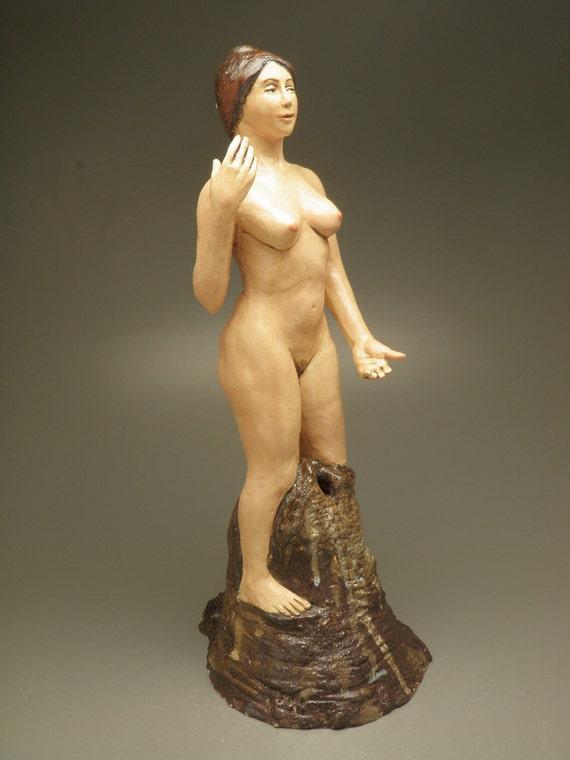 Ceramic Figure Sculpture, Venus, Goddess of Love, Standing Nude Figurine, Mature
