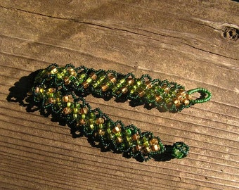 Deep Woods Dawn, copper green beadwork bracelet