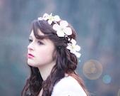 flower hair band, flower hair crown, dogwood blossom halo, bridal flower