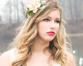 woodland pine cone rose floral hair  crown  'A Love Like Ours'