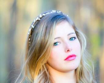 Bridal headband, wedding accesories, woodland bridal wreath, berries heandband, simple bridal accessories