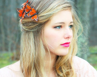 monarch, butterfly hair comb, orange monarch hair comb