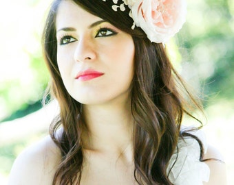 bridal hair accessories, wedding headpiece, pink flower fasinator, flower for hair