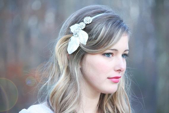 Bridal rhinestone headpiece, velvet leaf rhinestone headband