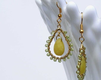 Olive jade faceted tear drop, peridot beads, wire wrapped earrings, hoop earrings, drop earrings, lime green, gold wire hoops, pear shpae