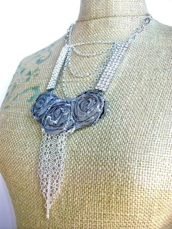 Raining Rhinestones- long modern necklace with Vintage rhinestone panels, and hand turned tattered roses