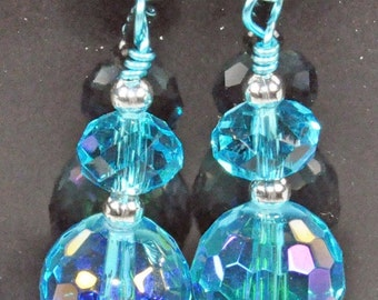 Turquoise Chinese fire polished crystal with silver beads and earwires and turquoise wire