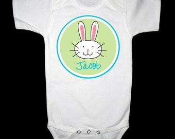 Personalized  Easter Bunny Boy Shirt or Bodysuit - Personalized with any name