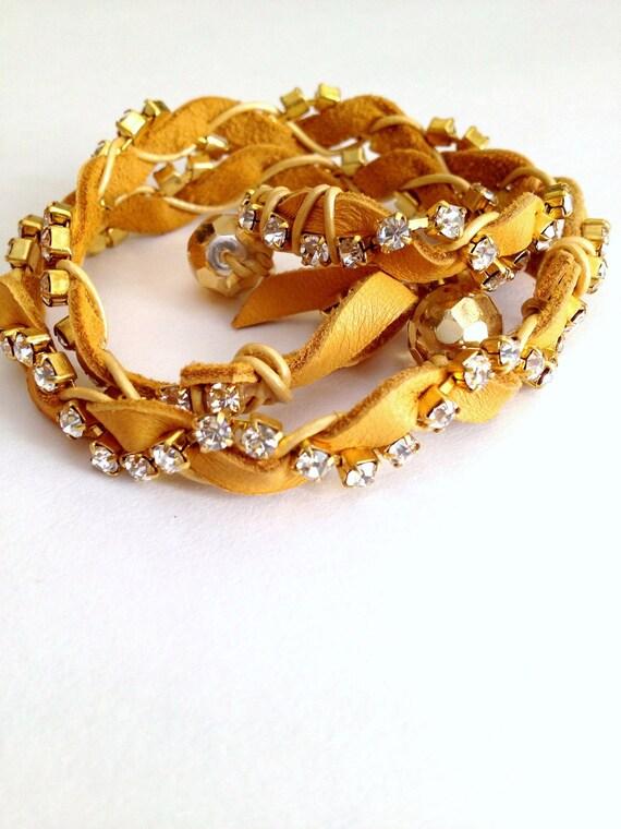 Leather and Rhinestone Wrap Bracelet - Burnt Yellow/Gold