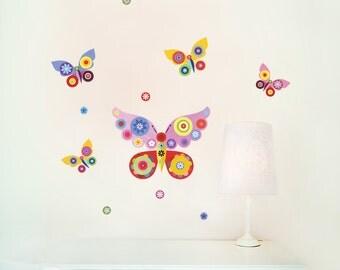 Butterflies Wall Decals, Fabric Wall Decals (not vinyl) - Small