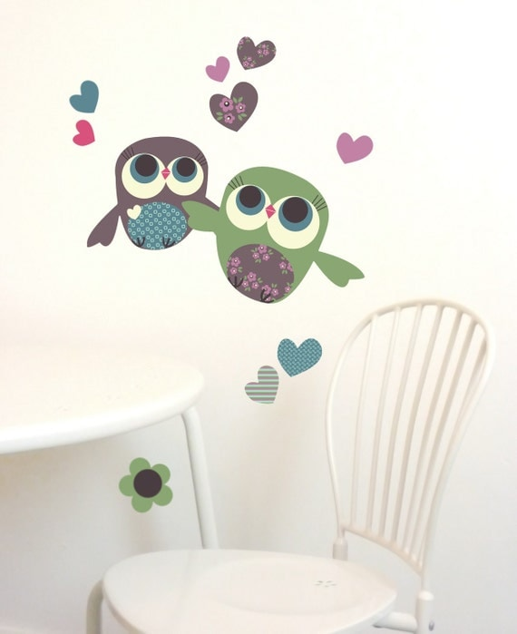 Children Wall Decals Owls Fabric Wall Sticker (not vinyl), Mini