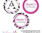 zebra print and pink custom stickers