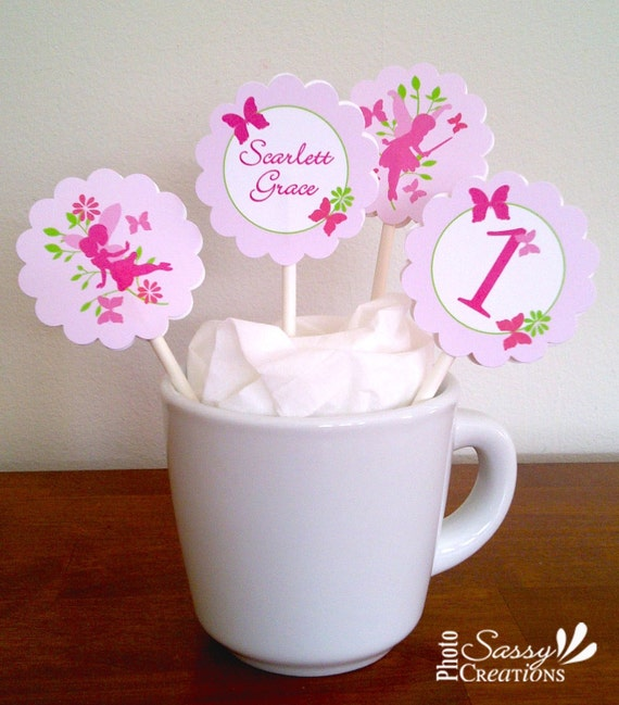 """printable Fairy cupcake toppers, custom 2"""" party circles"""