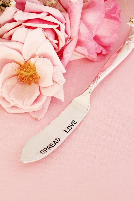Spread Love Butter Knife Jam Spreader. Hand Stamped Silver Plate Silverware Rose Handle.