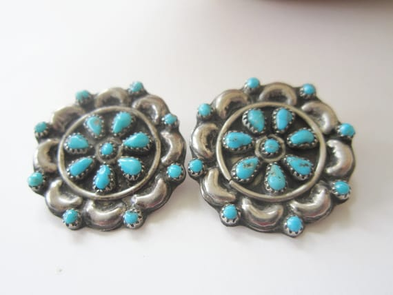 vintage silver turquoise zuni clip earrings