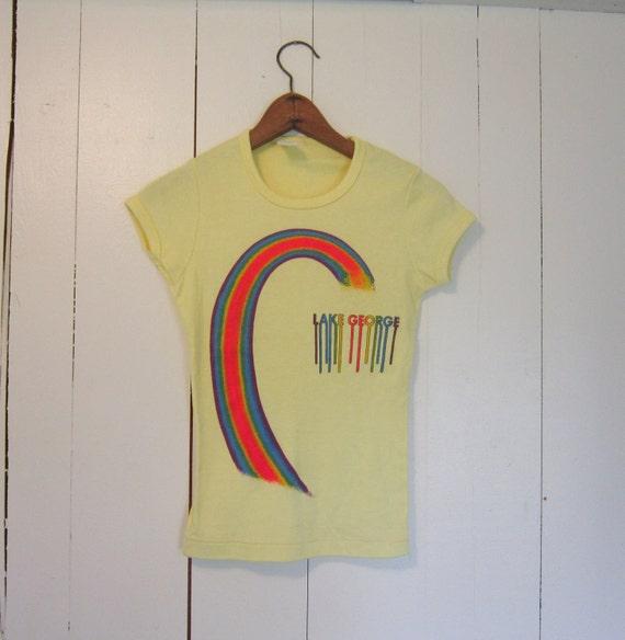 vintage 70s shirt  Lake George Tshirt Rainbow