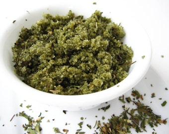 Chocolate Mint Sea Salt Scrub -  Herbal Botanical -  Chocolate - Peppermint - Moss - Emerald Green - 8 oz