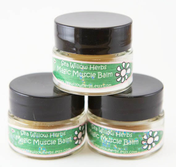 Magic Muscle Balm Salve - Herbal Rub// After Sport Balm //St. John's Wort, Lavender Essential Oil, and Dandelion Flowers - Sample Size