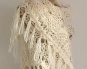 Ivory Classic Shawl with Fringes / Ivory Crochet Shawl / Ivory Wrap Shawl / Ivory Mohair Shawl / Ivory Triangle Shawl