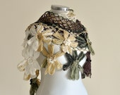 CLEARANCE! Ivory Green Brown Flower Shawl