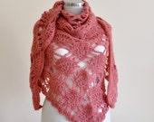 CLEARANCE! Pink Shawl / Pink Crochet Shawl / Pink Wrap Shawl / Pink Triangle Shawl / Pink