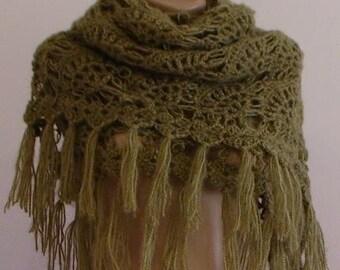 CLEARANCE! Green Shawl / Green Crochet Shawl / Green Wrap Shawl / Green Mohair Shawl / Green Triangle Shawl / Classic