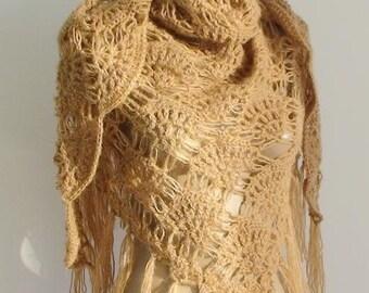 CLEARANCE! Caramel Shawl / Caramel Crochet Shawl / Caramel Wrap Shawl