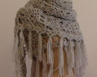 CLEARANCE! Gray Shawl / Gray Crochet Shawl / Gray Wrap Shawl / Gray Knit Shawl / Gray Wedding Shawl