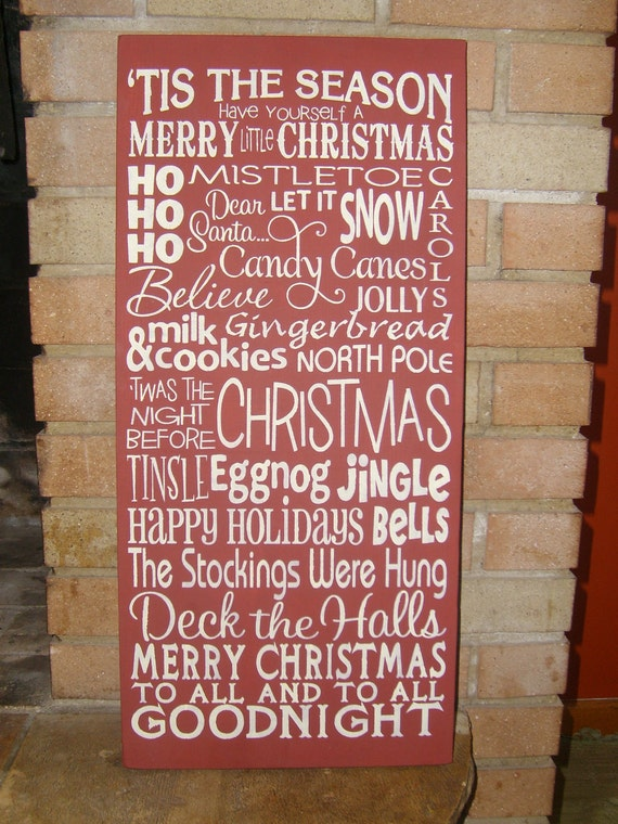 "Tis The Season/Christmas Sign/Christmas Decor/TYPOGRAPHY/ Primitive/Wood Sign/Country Christmas/Rustic/Home Decor/DAWNSPAINTING/12""x 24"""