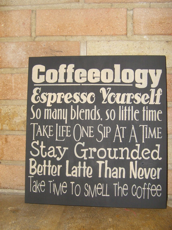 Coffeeology Kitchen Sign Coffee Decor Wood Sign Kitchen Decor Kitchen Walls